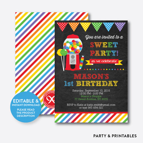 Sweet Shoppe Chalkboard Kids Birthday Invitation / Editable / Instant Download (CKB.84)