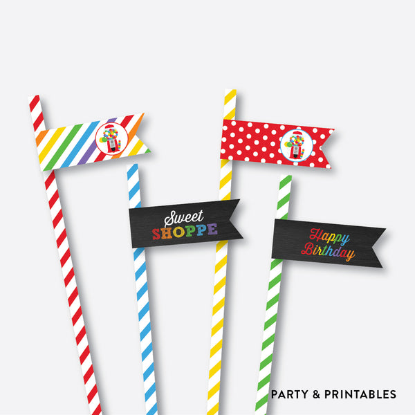 Sweet Shoppe Chalkboard Straw Flags / Non-Personalized / Instant Download (CKB.84), party printables - Party and Printables