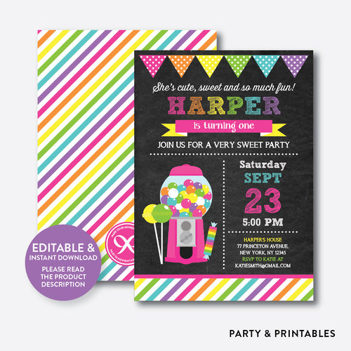 Sweet Shoppe Pink Chalkboard Kids Birthday Invitation / Editable / Instant Download (CKB.85B)