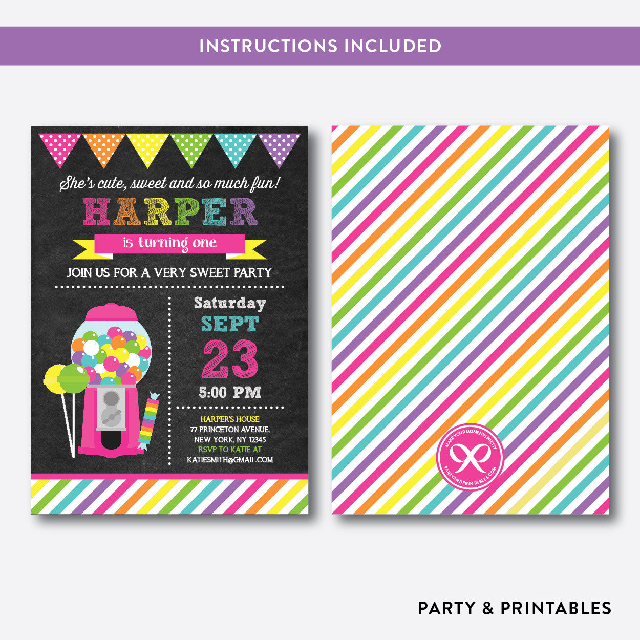 Sweet Shoppe Chalkboard Kids Birthday Invitation / Editable / Instant Download (CKB.85B), invitation - Party and Printables