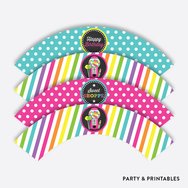 Sweet Shoppe Chalkboard Cupcake Wrappers / Non-Personalized / Instant Download (CKB.85), party printables - Party and Printables