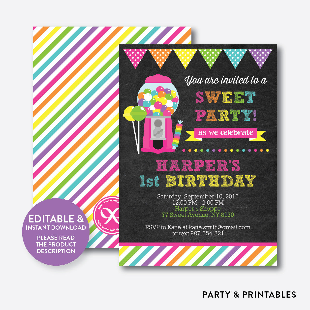 Sweet Shoppe Pink Chalkboard Kids Birthday Invitation / Editable / Instant Download (CKB.85)