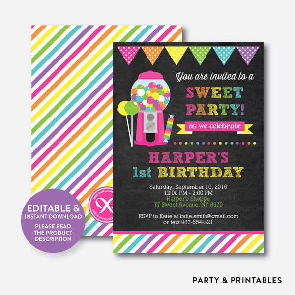 Sweet Shoppe Chalkboard Kids Birthday Invitation / Editable / Instant Download (CKB.85), invitation - Party and Printables
