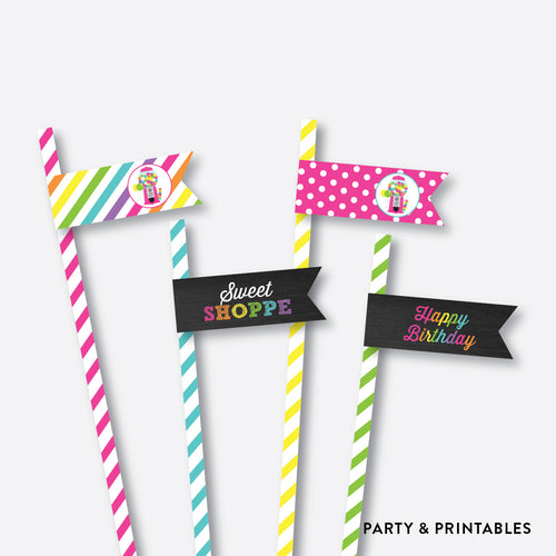 Sweet Shoppe Chalkboard Straw Flags / Non-Personalized / Instant Download (CKB.85)