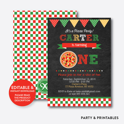 Pizza Chalkboard 1st Birthday Invitation / Editable / Instant Download (CKB.86B)