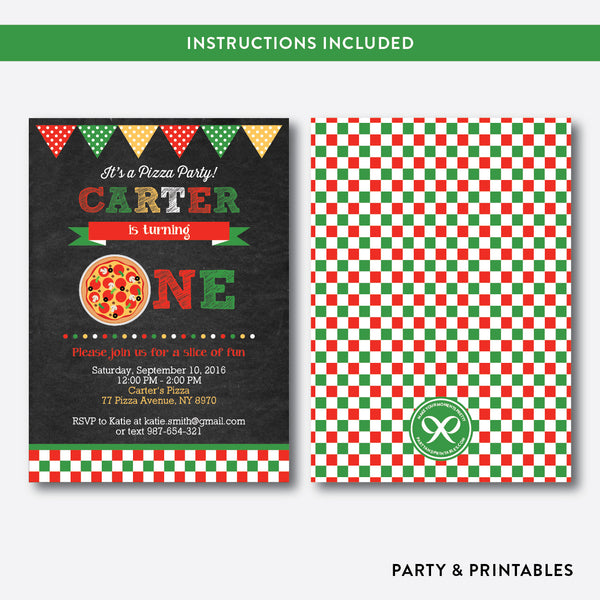 Pizza Chalkboard 1st Birthday Invitation / Editable / Instant Download (CKB.86B), invitation - Party and Printables
