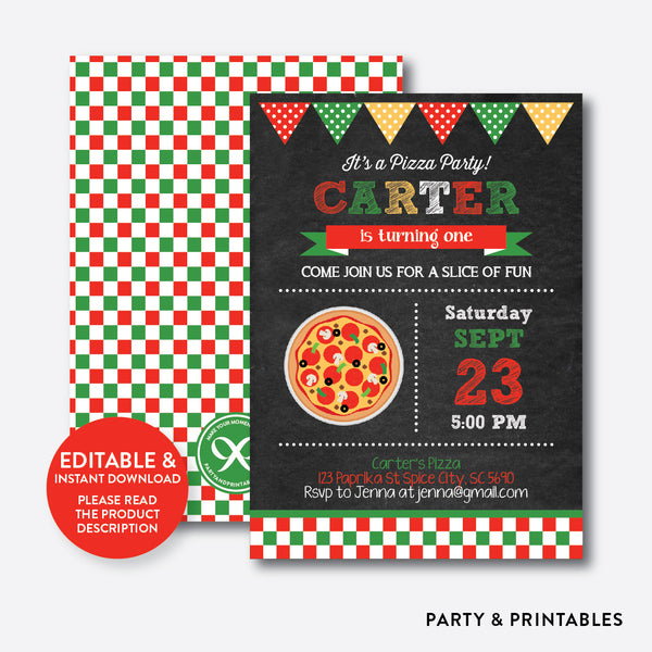 Pizza Chalkboard Kids Birthday Invitation / Editable / Instant Download (CKB.86C), invitation - Party and Printables