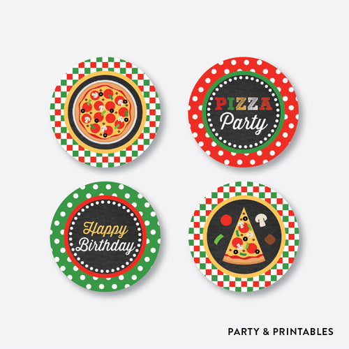 Pizza Chalkboard Cupcake Toppers / Non-Personalized / Instant Download (CKB.86)