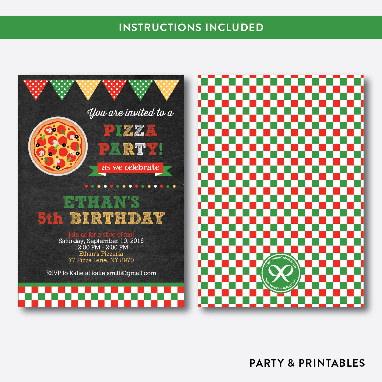 Pizza Chalkboard Kids Birthday Invitation / Editable / Instant Download (CKB.86)