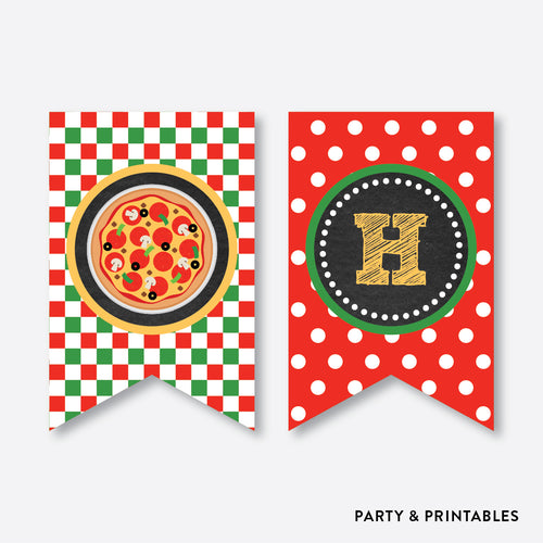 Pizza Chalkboard Party Banner / Happy Birthday Banner / Non-Personalized / Instant Download (CKB.86)