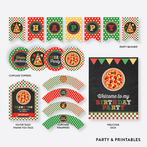 Pizza Chalkboard Standard Kids Birthday Party Package / Non-Personalized / Instant Download (CKB.86)