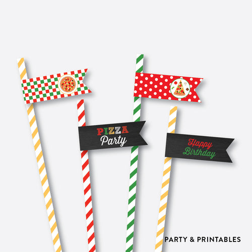 Pizza Chalkboard Straw Flags / Non-Personalized / Instant Download (CKB.86)