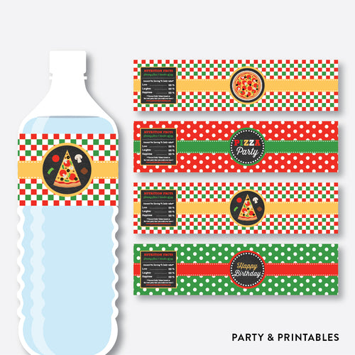 Pizza Chalkboard Water Bottle Labels / Non-Personalized / Instant Download (CKB.86)