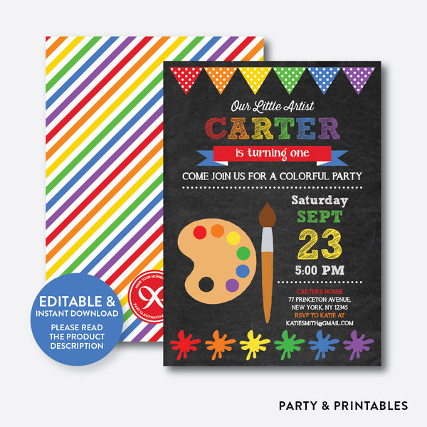 Art Party Chalkboard Kids Birthday Invitation / Editable / Instant Download (CKB.87B), invitation - Party and Printables