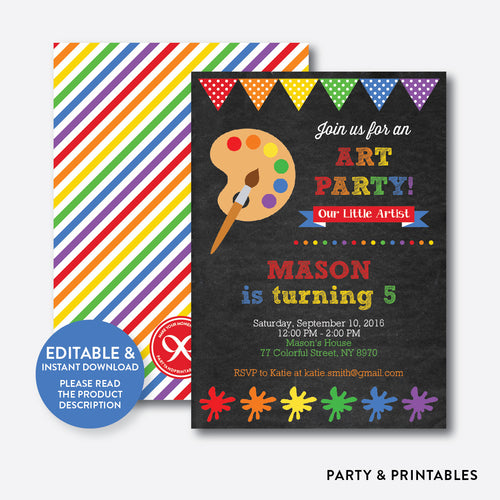 Art Party Red Chalkboard Kids Birthday Invitation / Editable / Instant Download (CKB.87)