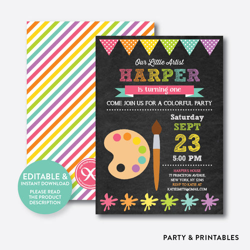 Art Party Pink Chalkboard Kids Birthday Invitation / Editable / Instant Download (CKB.88B)