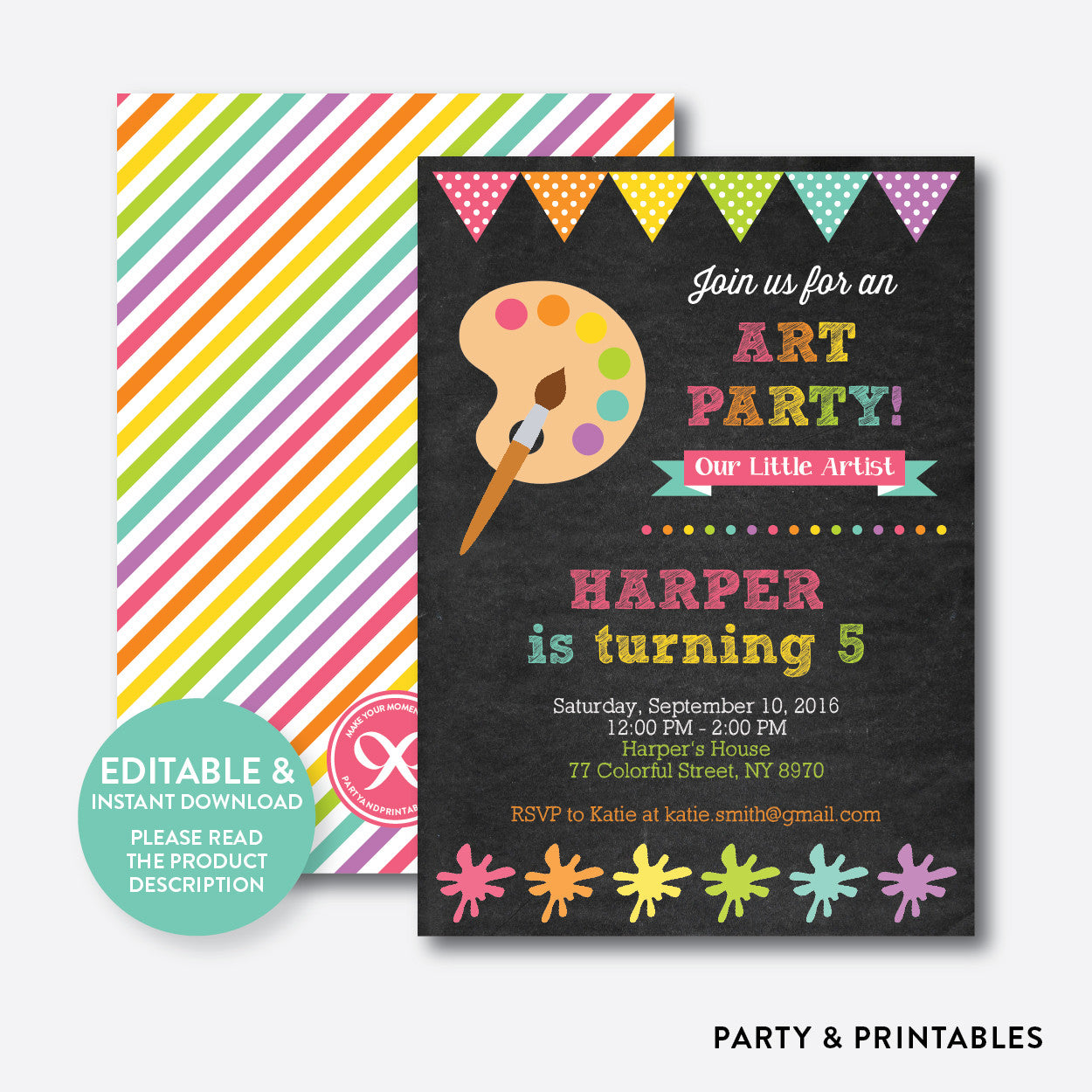 Art Party Pink Chalkboard Kids Birthday Invitation / Editable / Instant Download (CKB.88), invitation - Party and Printables
