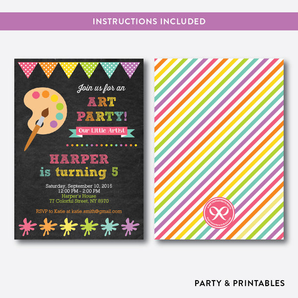 Art Party Chalkboard Kids Birthday Invitation / Editable / Instant Download (CKB.88), invitation - Party and Printables