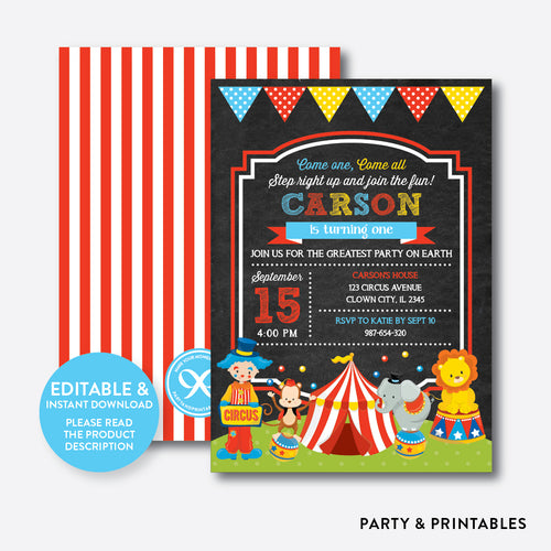 Circus Chalkboard Kids Birthday Invitation / Editable / Instant Download (CKB.89B)