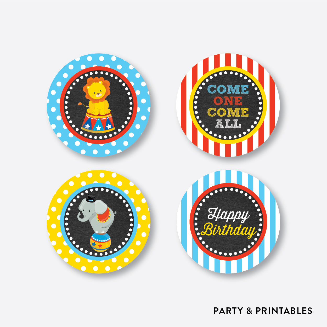 Circus Chalkboard Cupcake Toppers / Non-Personalized / Instant Download (CKB.89), party printables - Party and Printables