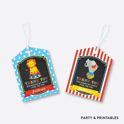 Circus Chalkboard Favor Tags / Non-Personalized / Instant Download (CKB.89)