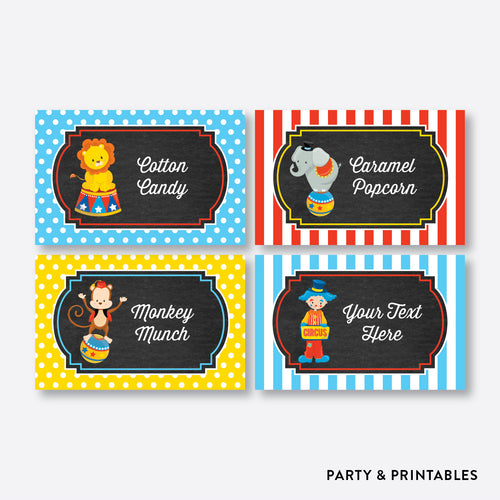 Circus Chalkboard Food Labels / Editable / Instant Download (CKB.89)