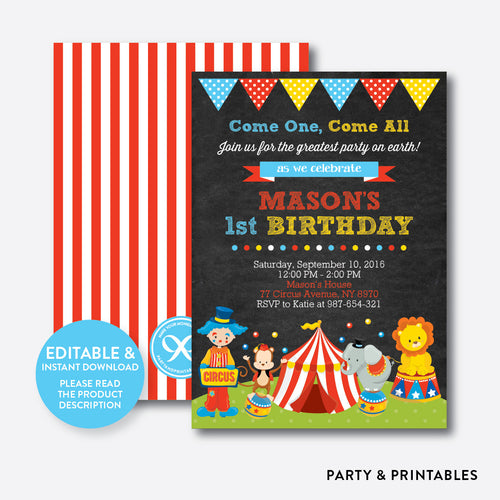 Circus Chalkboard Kids Birthday Invitation / Editable / Instant Download (CKB.89)