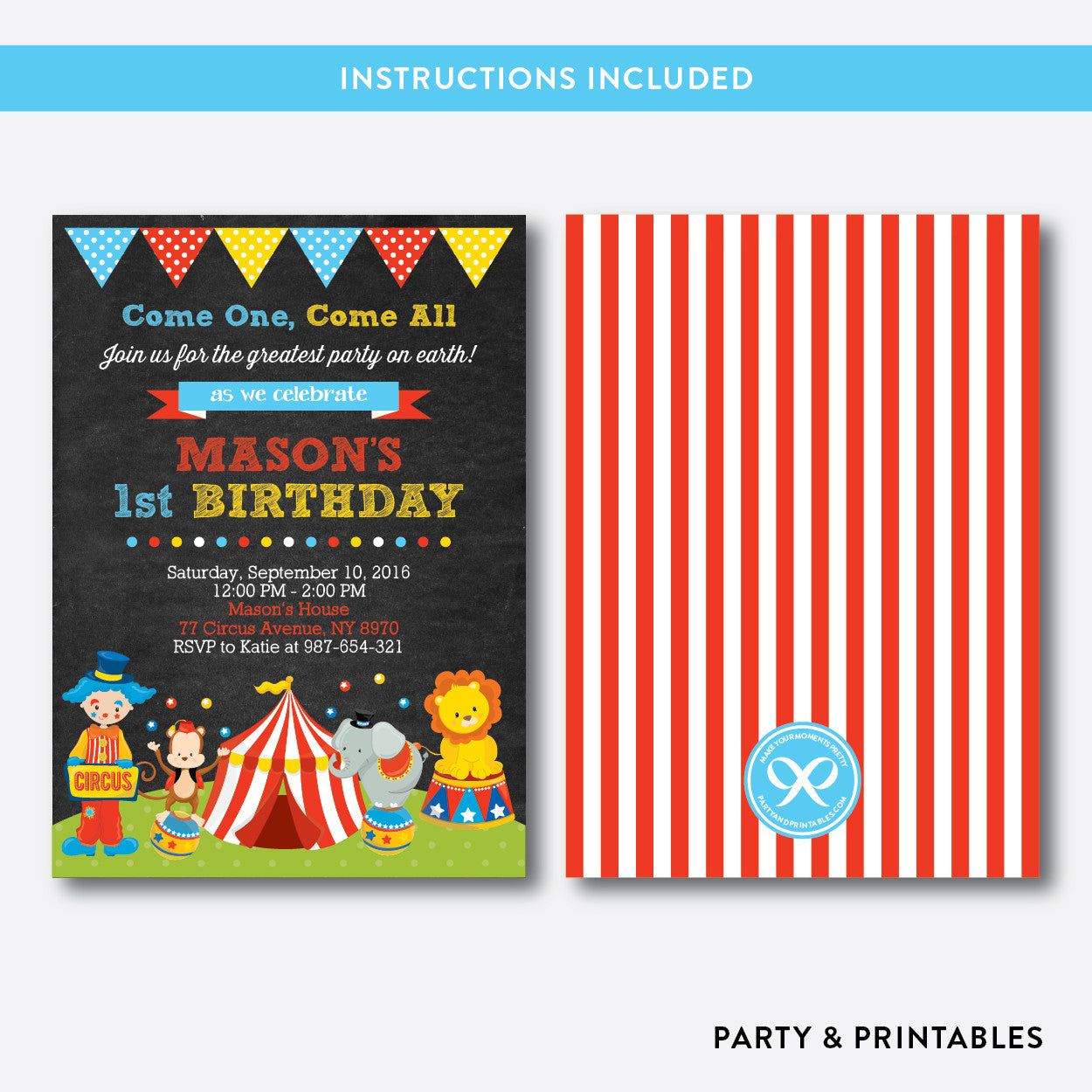 Circus Chalkboard Kids Birthday Invitation / Editable / Instant Download (CKB.89), invitation - Party and Printables