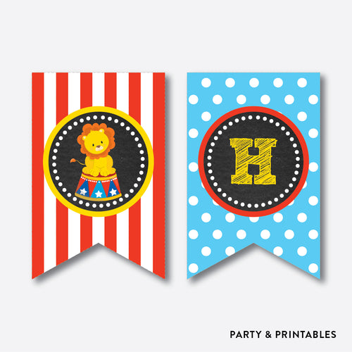 Circus Chalkboard Party Banner / Happy Birthday Banner / Non-Personalized / Instant Download (CKB.89)