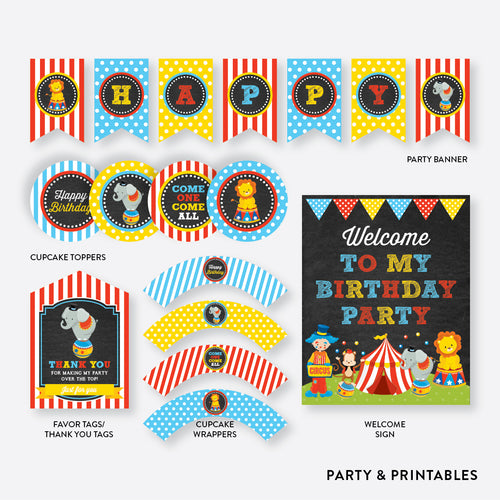 Circus Chalkboard Standard Kids Birthday Party Package / Non-Personalized / Instant Download (CKB.89)