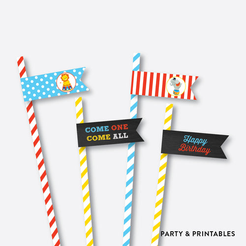 Circus Chalkboard Straw Flags / Non-Personalized / Instant Download (CKB.89)