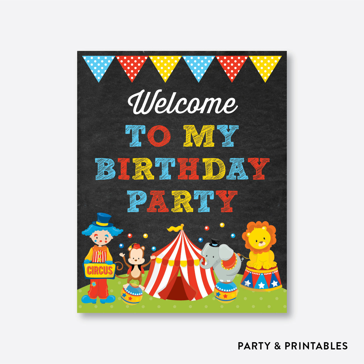 Circus Chalkboard Welcome Sign / Non-Personalized / Instant Download (CKB.89), party printables - Party and Printables