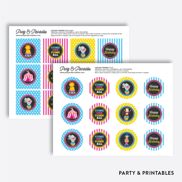 Circus Chalkboard Cupcake Toppers / Non-Personalized / Instant Download (CKB.90), party printables - Party and Printables