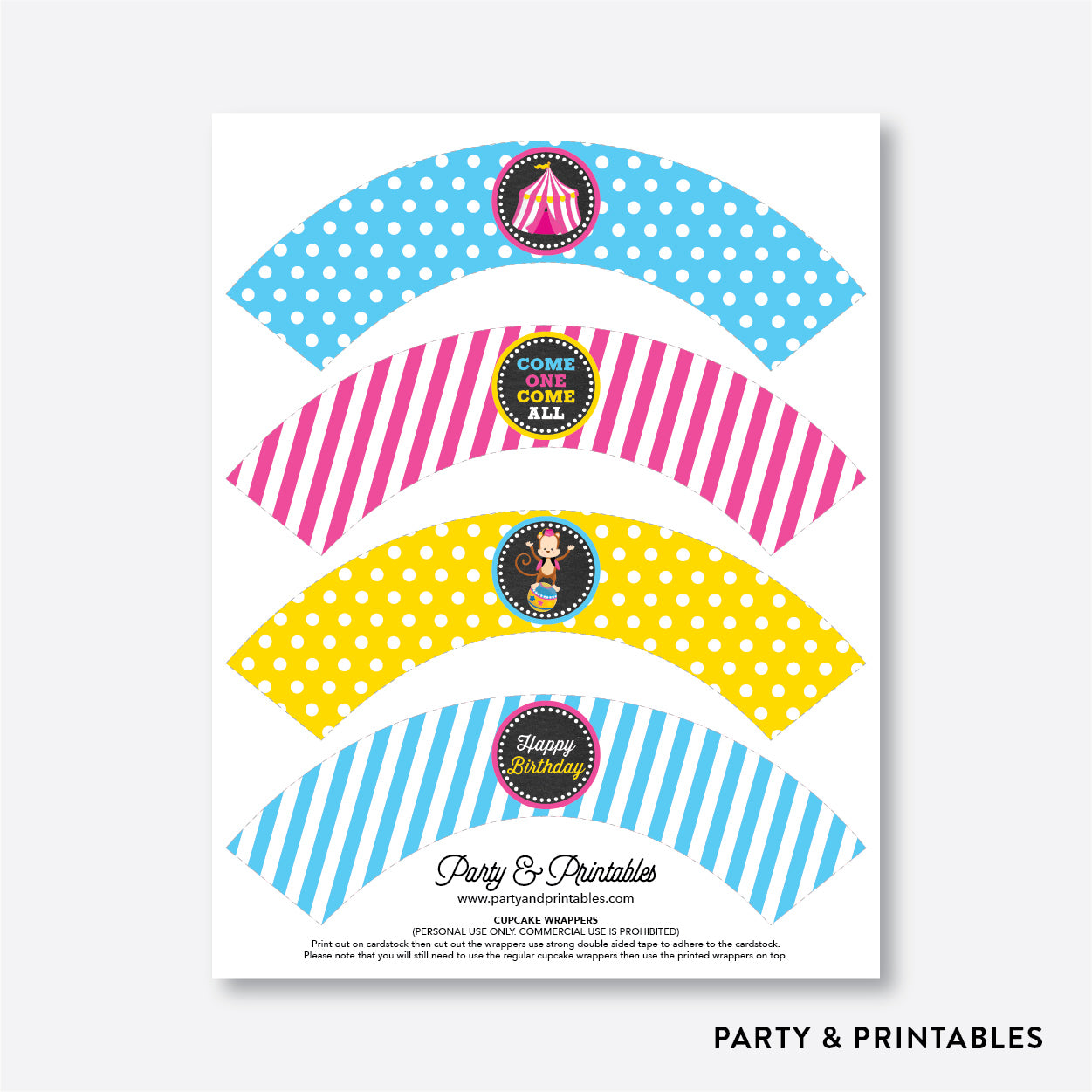 Circus Chalkboard Cupcake Wrappers / Non-Personalized / Instant Download (CKB.90), party printables - Party and Printables
