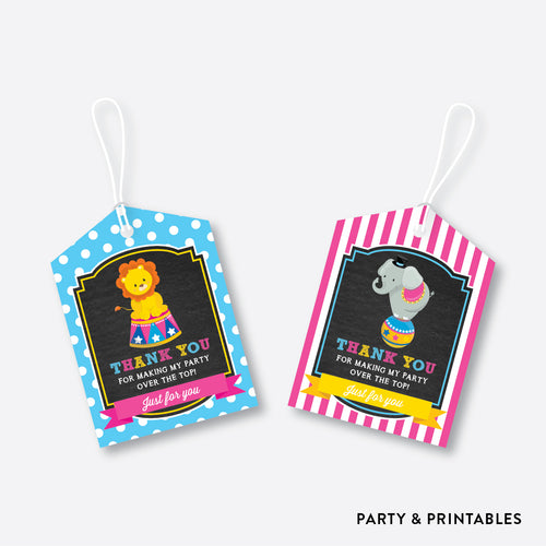 Circus Chalkboard Favor Tags / Non-Personalized / Instant Download (CKB.90)