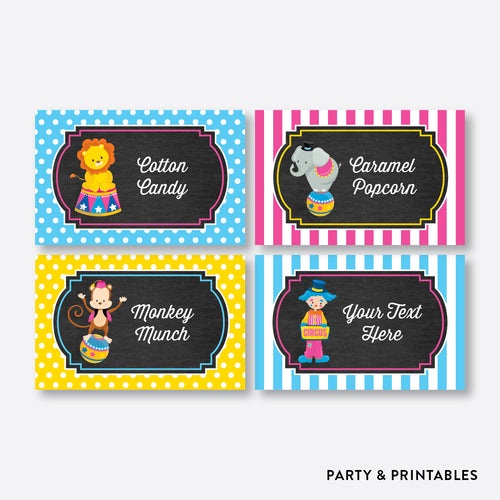 Circus Chalkboard Food Labels / Editable / Instant Download (CKB.90)