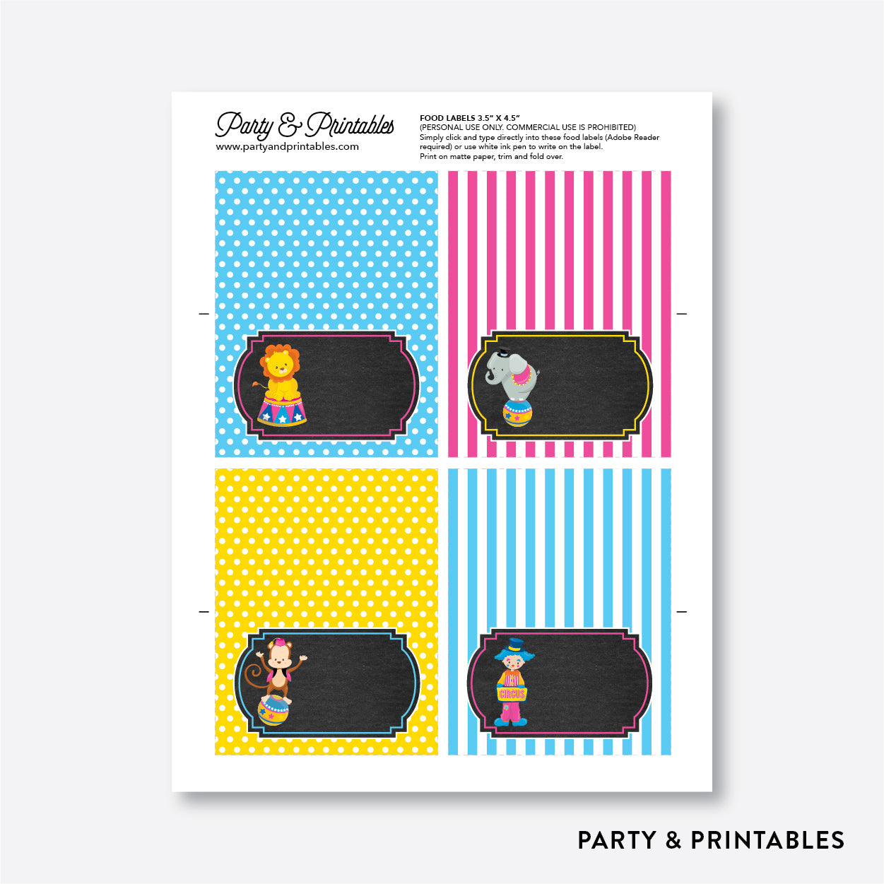 Circus Chalkboard Food Labels / Editable / Instant Download (CKB.90), party printables - Party and Printables