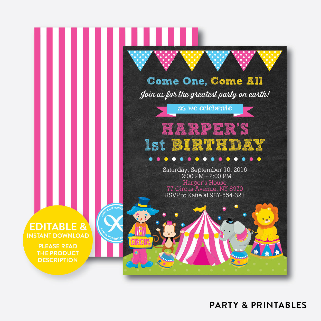 Circus Pink Chalkboard Kids Birthday Invitation Editable