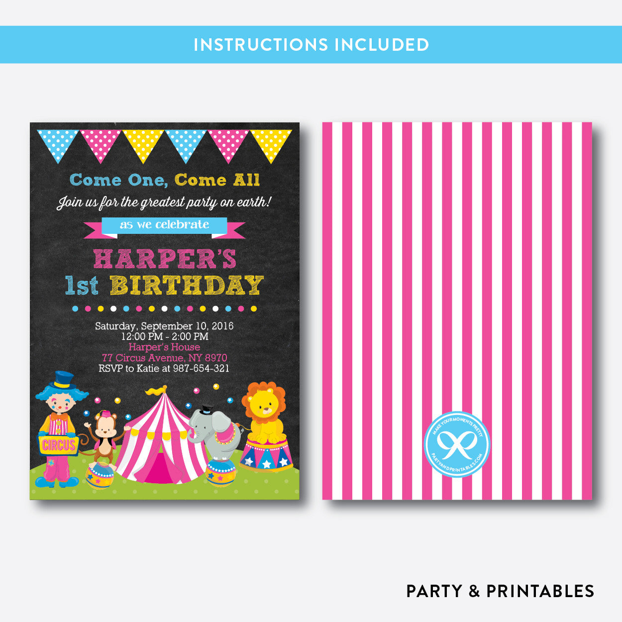 Circus Chalkboard Kids Birthday Invitation / Editable / Instant Download (CKB.90), invitation - Party and Printables