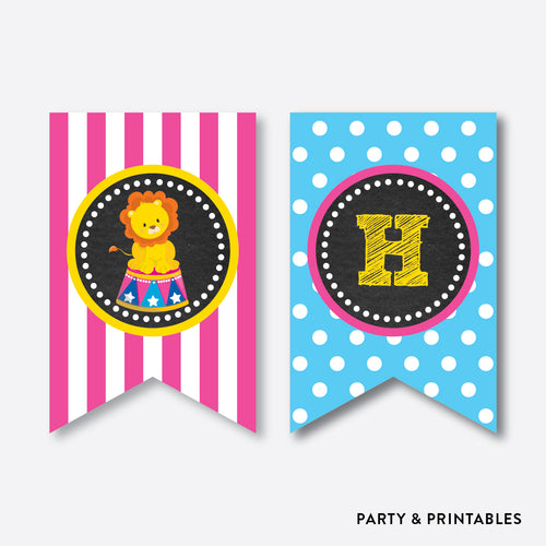 Circus Chalkboard Party Banner / Happy Birthday Banner / Non-Personalized / Instant Download (CKB.90)