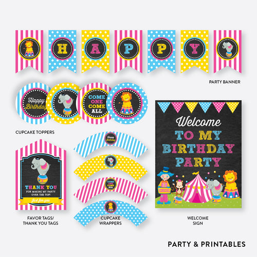 Circus Chalkboard Standard Kids Birthday Party Package / Non-Personalized / Instant Download (CKB.90)