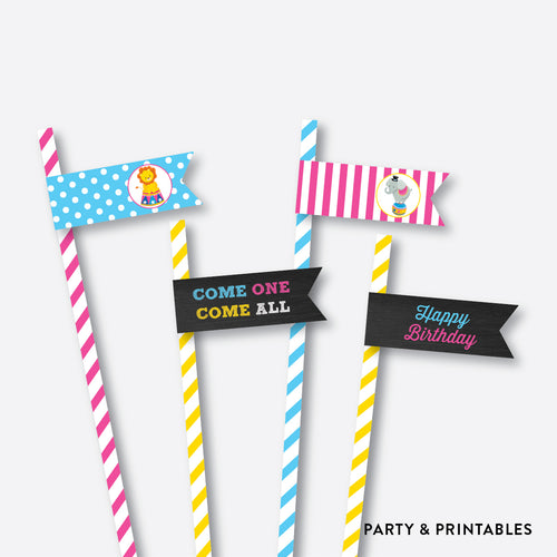 Circus Chalkboard Straw Flags / Non-Personalized / Instant Download (CKB.90)