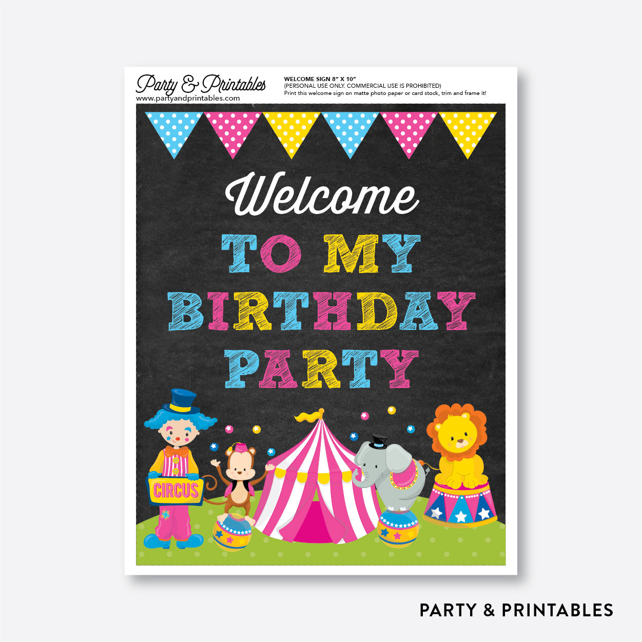 Circus Chalkboard Welcome Sign / Non-Personalized / Instant Download (CKB.90), party printables - Party and Printables