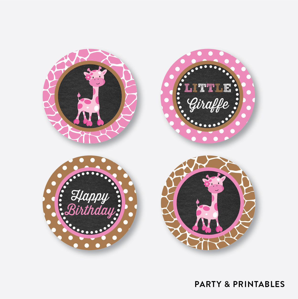 Giraffe Chalkboard Cupcake Toppers / Non-Personalized / Instant Download (CKB.91), party printables - Party and Printables