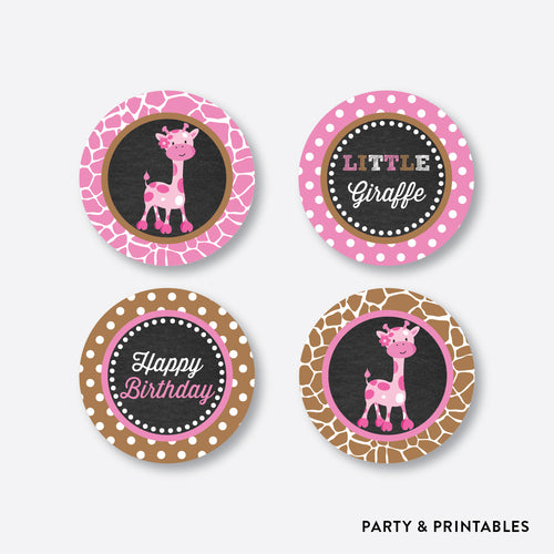 Giraffe Chalkboard Cupcake Toppers / Non-Personalized / Instant Download (CKB.91)