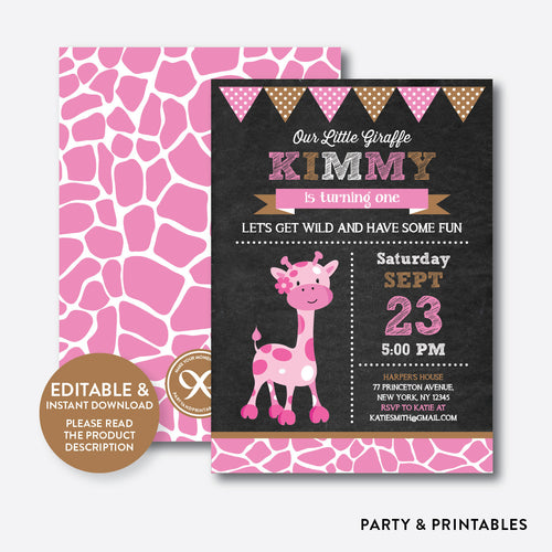 Giraffe Chalkboard Kids Birthday Invitation / Editable / Instant Download (CKB.91)