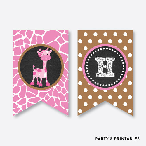 Giraffe Chalkboard Party Banner / Happy Birthday Banner / Non-Personalized / Instant Download (CKB.91)