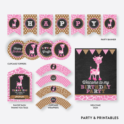 Giraffe Chalkboard Standard Kids Birthday Party Package / Non-Personalized / Instant Download (CKB.91)