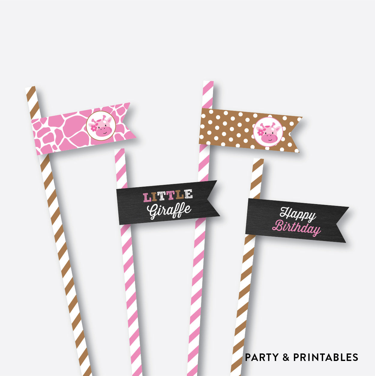 Giraffe Chalkboard Straw Flags / Non-Personalized / Instant Download (CKB.91), party printables - Party and Printables