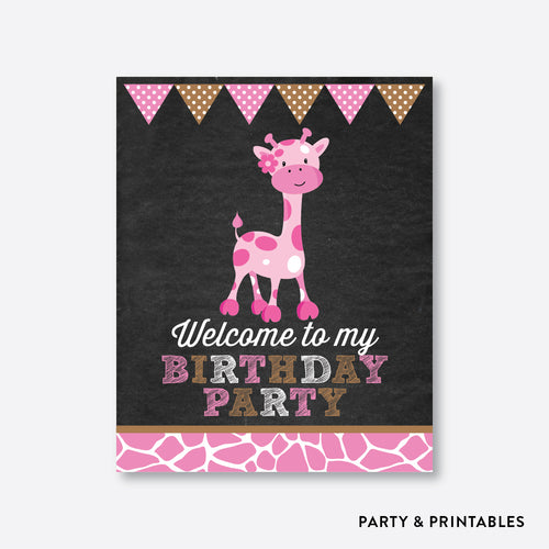Giraffe Chalkboard Welcome Sign / Non-Personalized / Instant Download (CKB.91)
